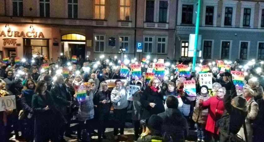 Protest in Legnica against the reform of the Constitution