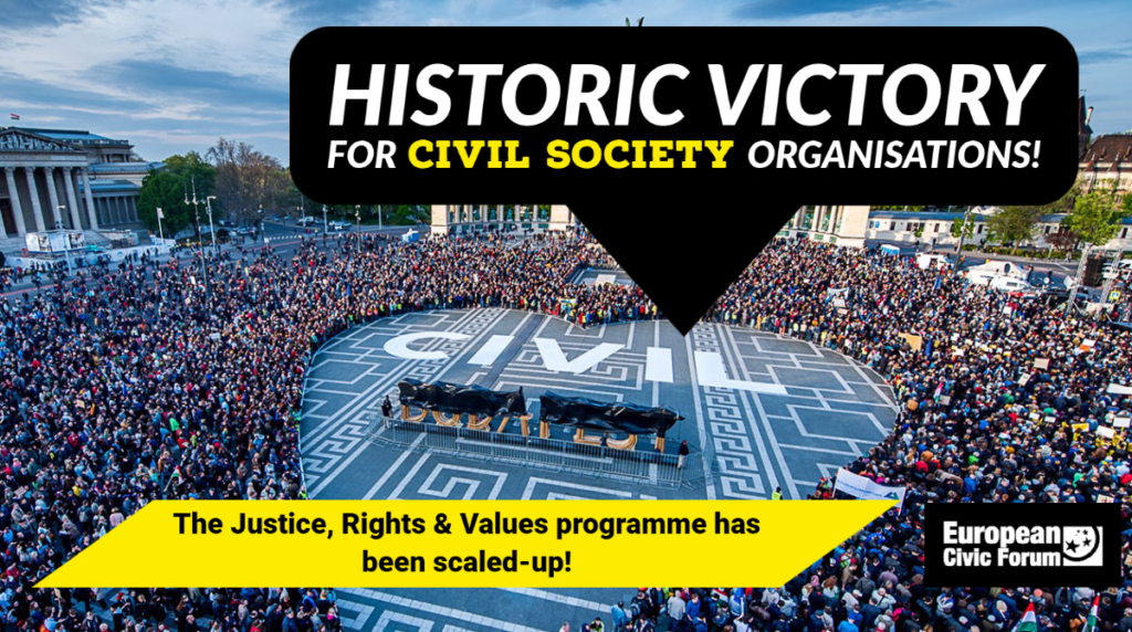 Civic organisations saw the funding for Rights & Values doubled